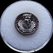 1800's Elizabethan silvered Black Glass Button
