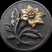 Vintage Brass Flower Button