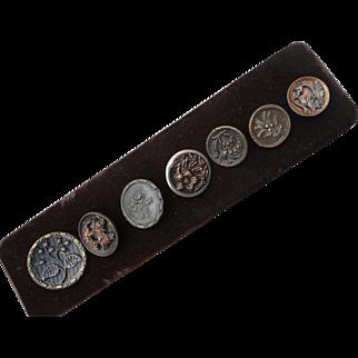 Seven Vintage Brass Buttons