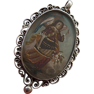 Italian Vintage 950 Silver Angel Pendant