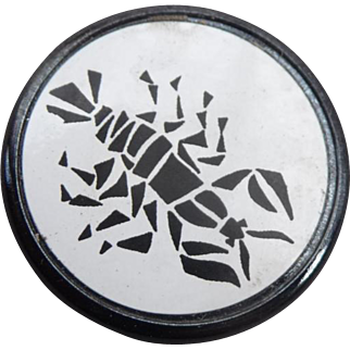 Wonderful Vintage Scorpio Astrological Black Glass Button