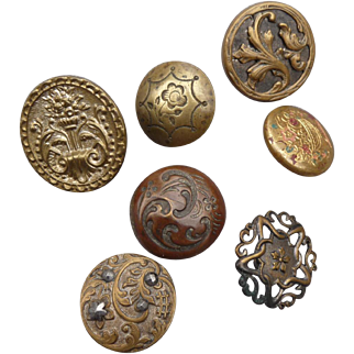 A Poke of Seven Vintage Late 1800's Metal Buttons