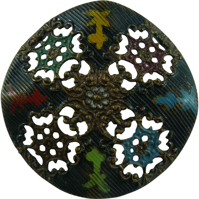 Beautiful Filigree Copper Button