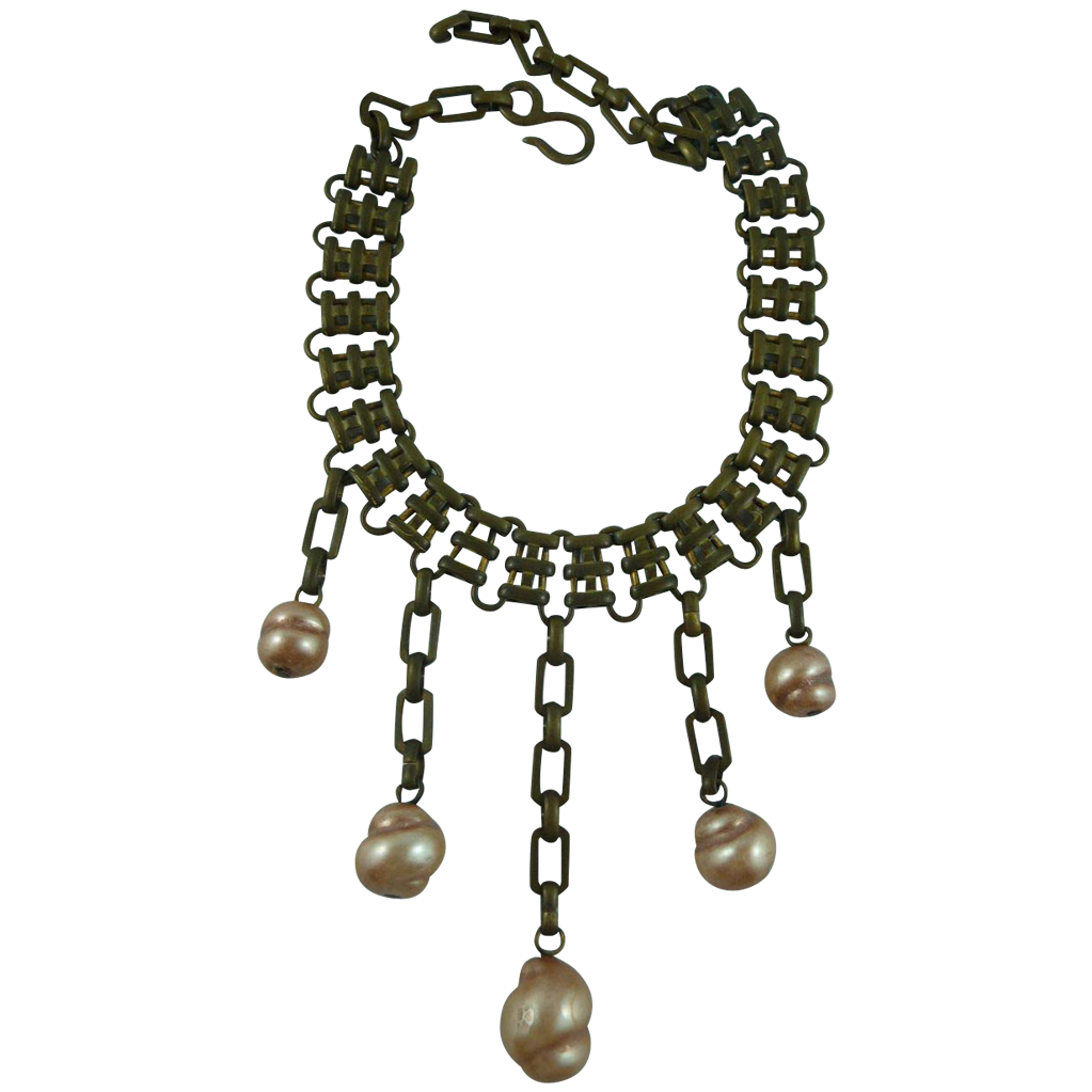 Inticate Machine Age Brass and Faux Pearl Necklace