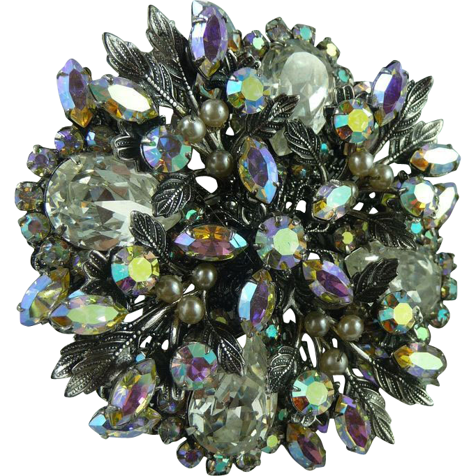 Exceptional Large Original by Robert Large Crystal and Pearl Pin Broach