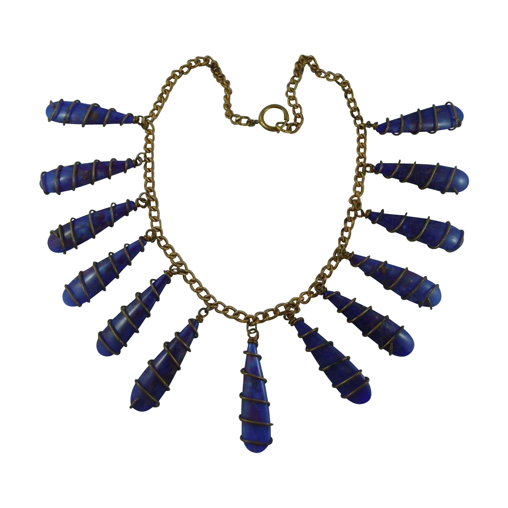 Early Vintage Blue Glass and Brass Necklace