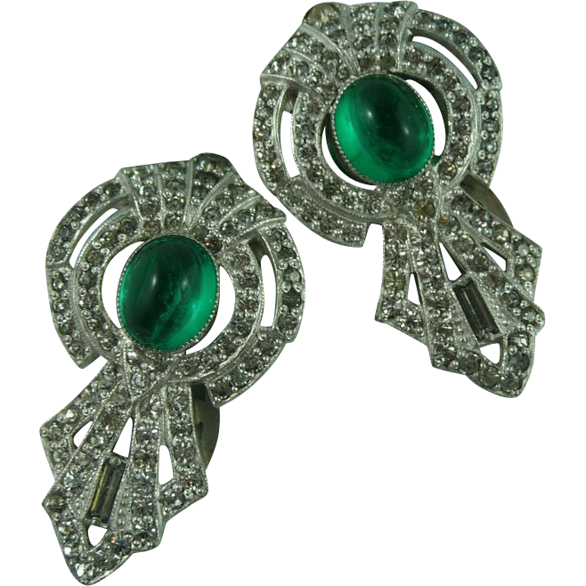 A Pair of Rhinestone and Green Glass Deco Dress Clips