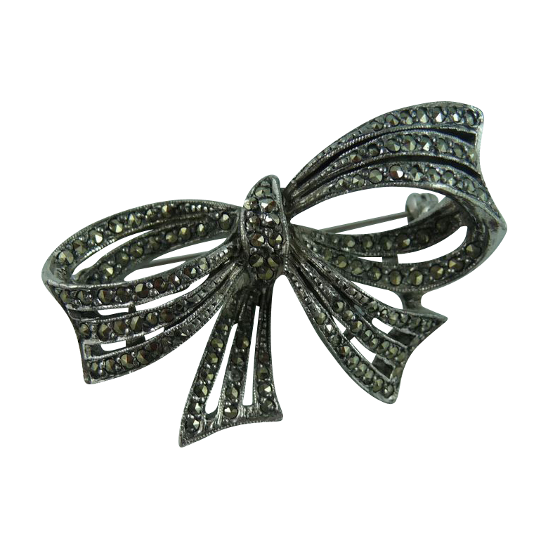 Beautiful Marcasite Bow Pin