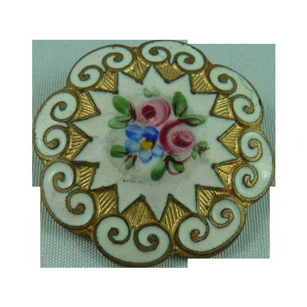French Enamel Flower Button