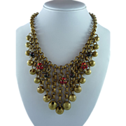 Ornate Vintage Brass and Rhinestone Necklace