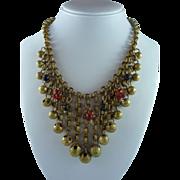 Ornate Vintage Brass and Rhinestone Necklace