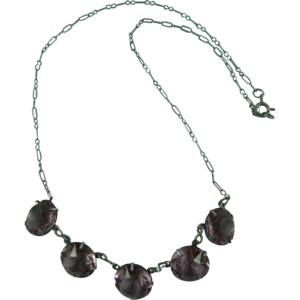 Delicate silver Mauve Crystal Necklace