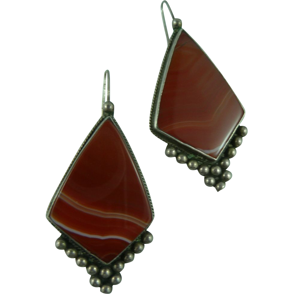 Significant Red Agate and Silver Earrings