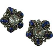Beautiful Blue and Crystal Earrings
