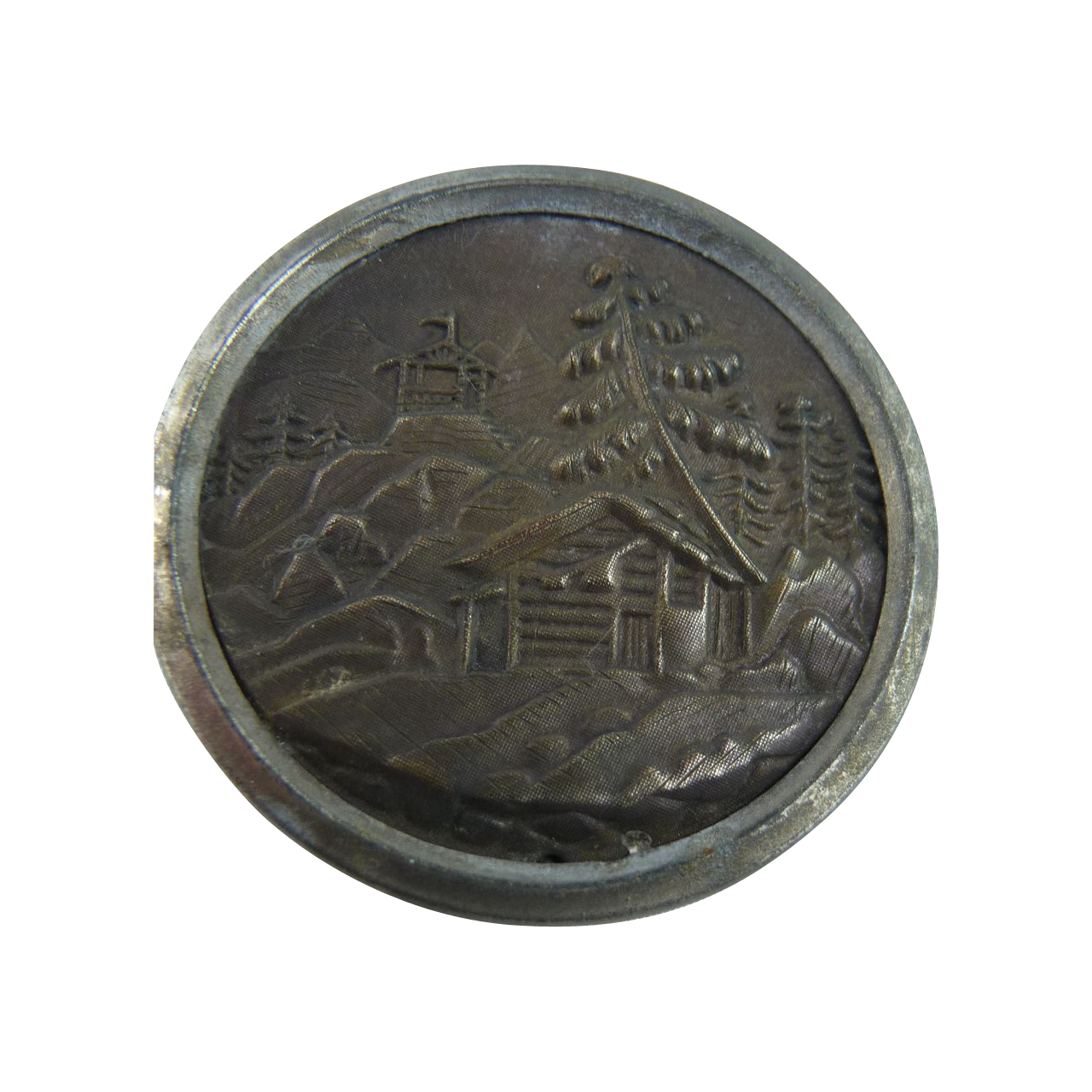 Vintage Button of Heidi's Cabin in The Woods