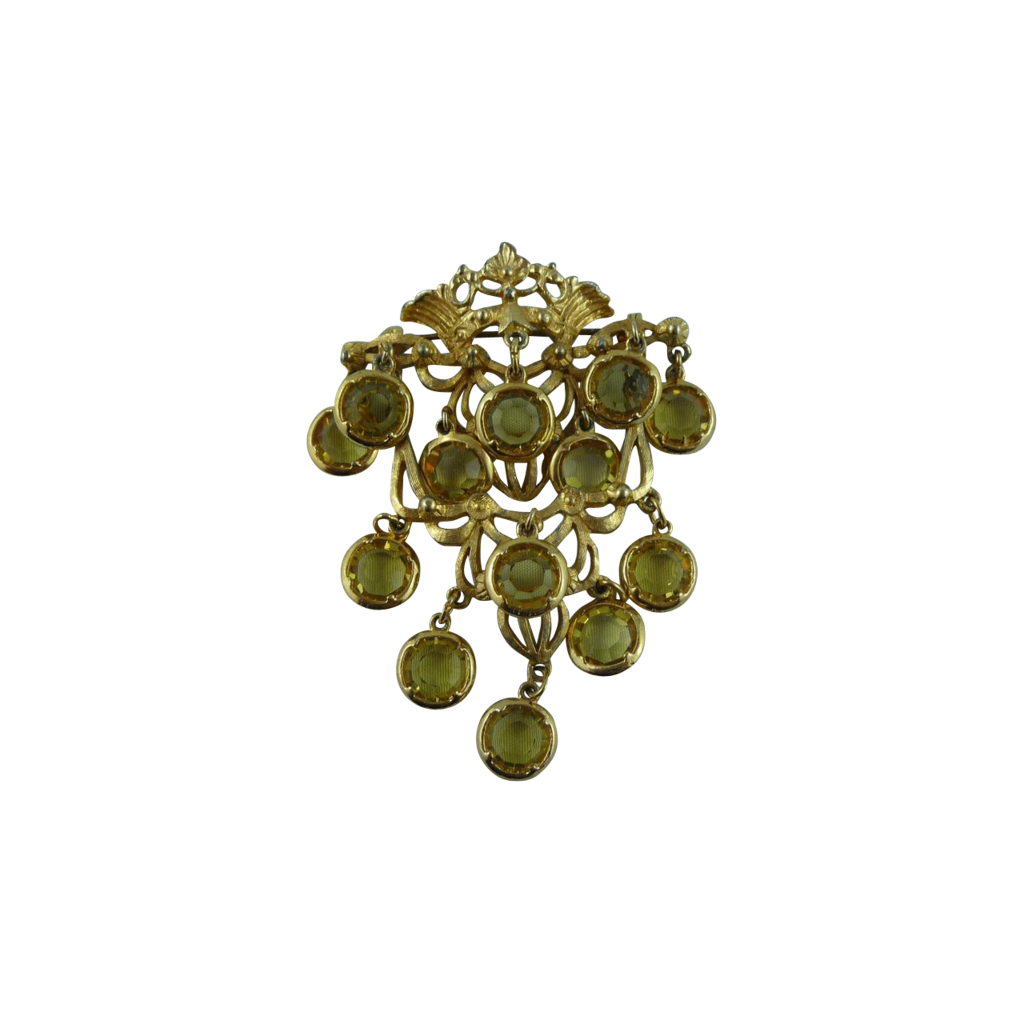 Lovely gold tone Open Back Crystal Pin