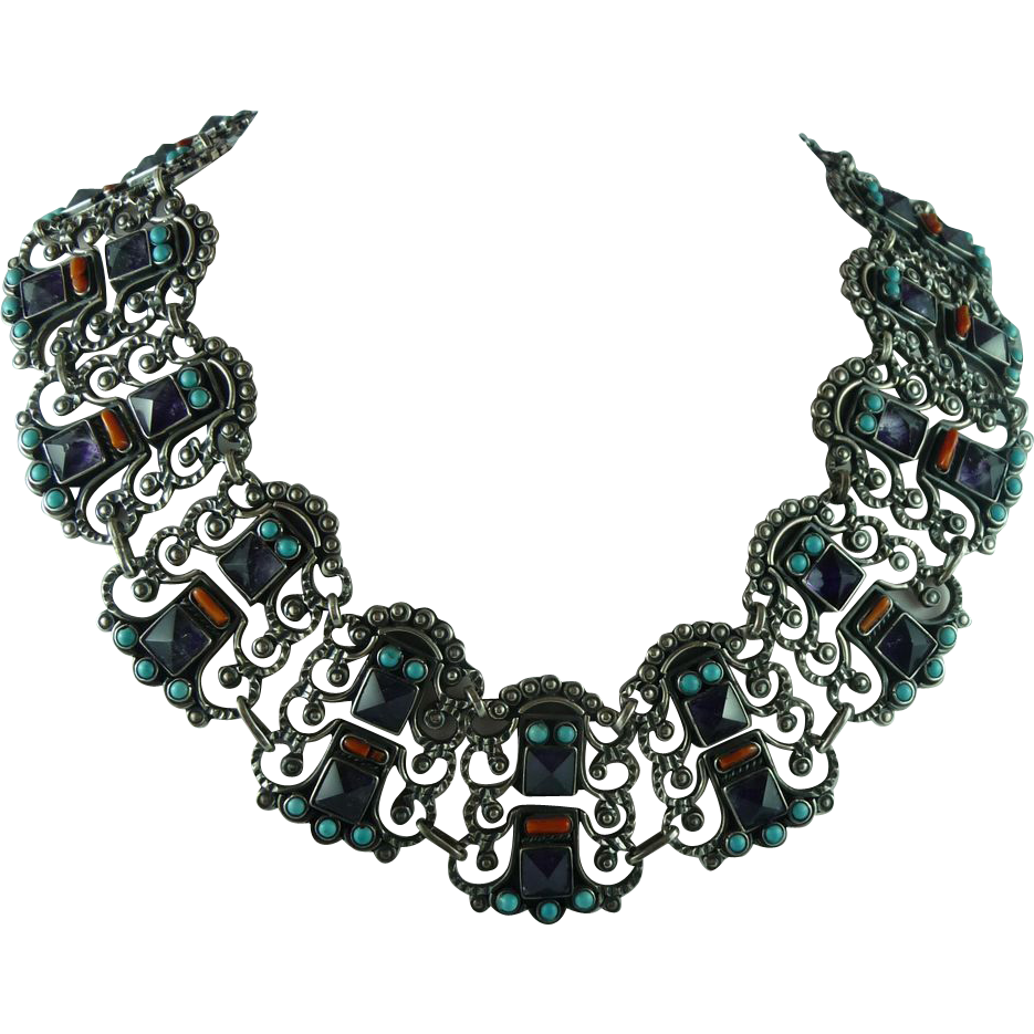 Spectacular Sterling Mexican Necklace