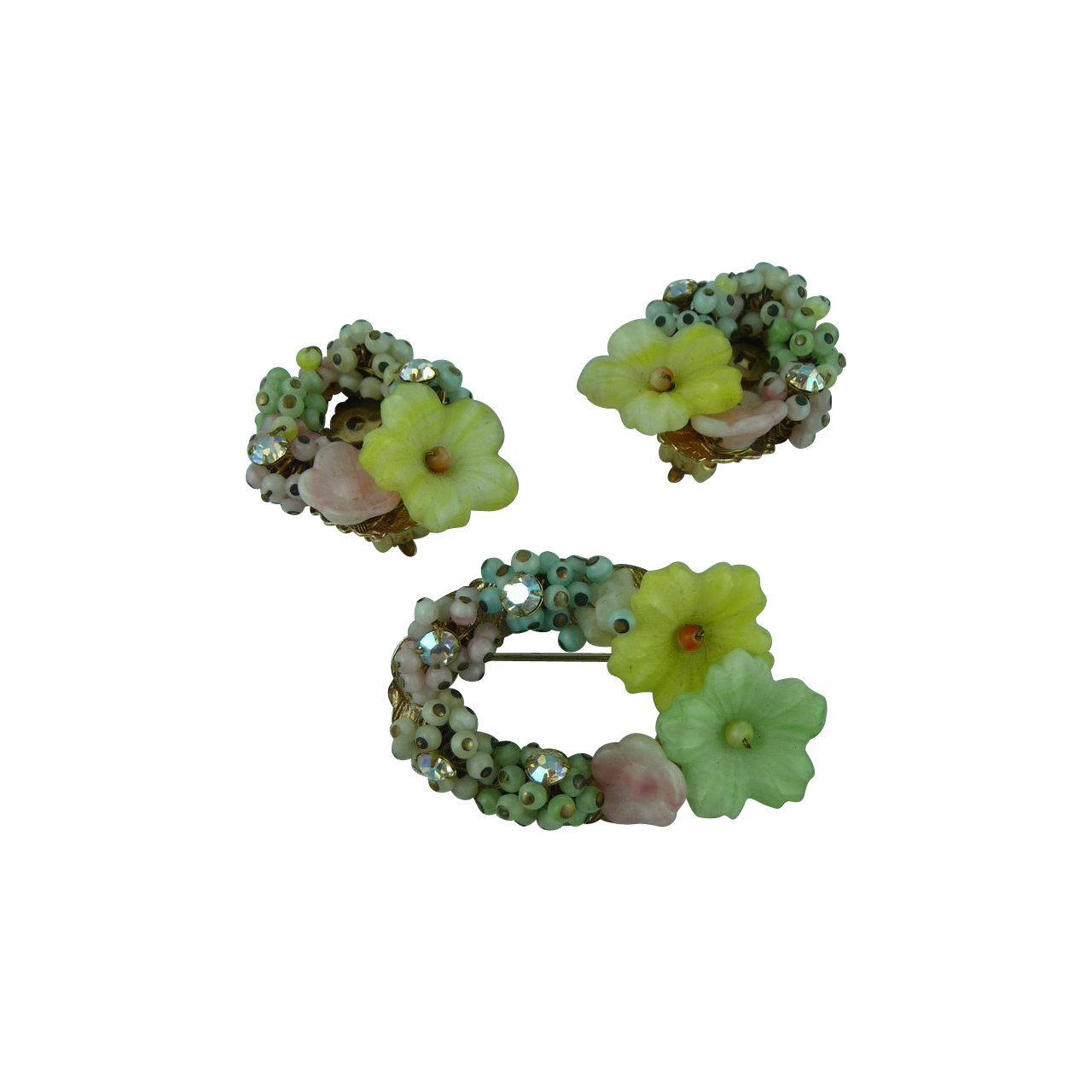 Delicate Vintage Pastel Glass Pin and Earring set