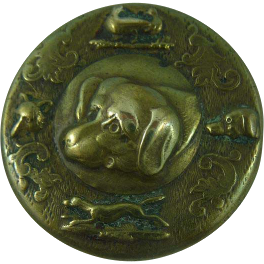 Antique vintage Brass Sporting Dog Button