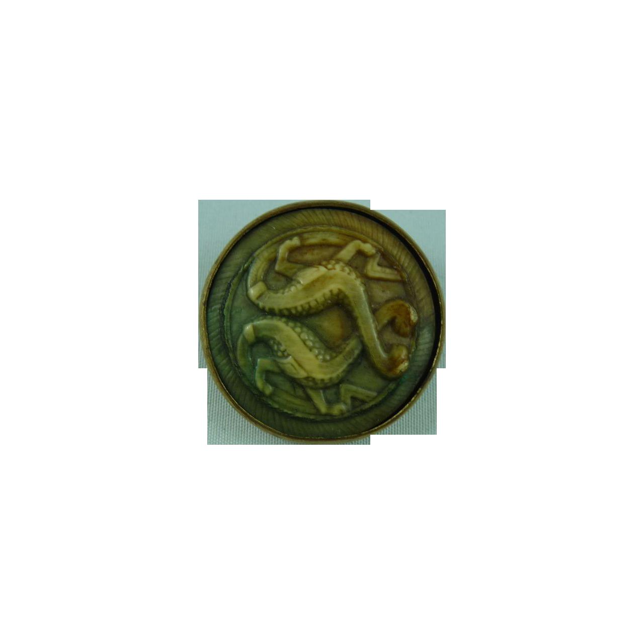 Rare Dinosaur Vintage Button