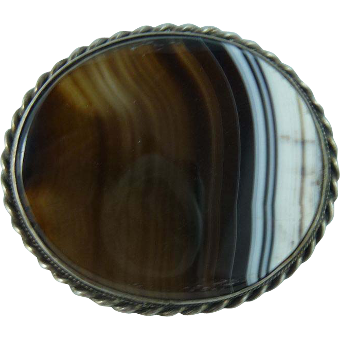 Victorian Banded Agate Sterling Pin
