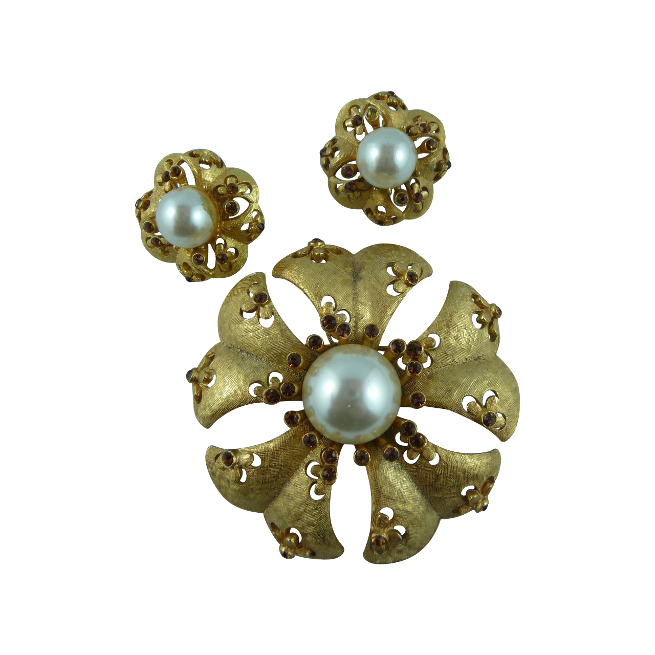 Exquisite Vintage Signed Florenza Pin and Earrings