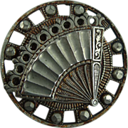 Large Vintage Fan Button