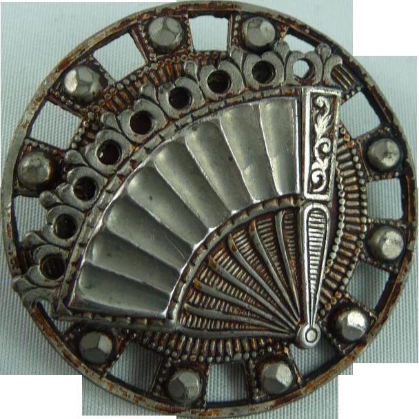 Large Vintage Fan Button