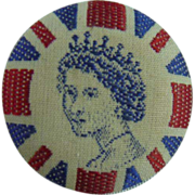 Vintage Queen Elizabeth the Second Fabric Button