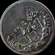 Large Vintage Horse Rider Metal Button