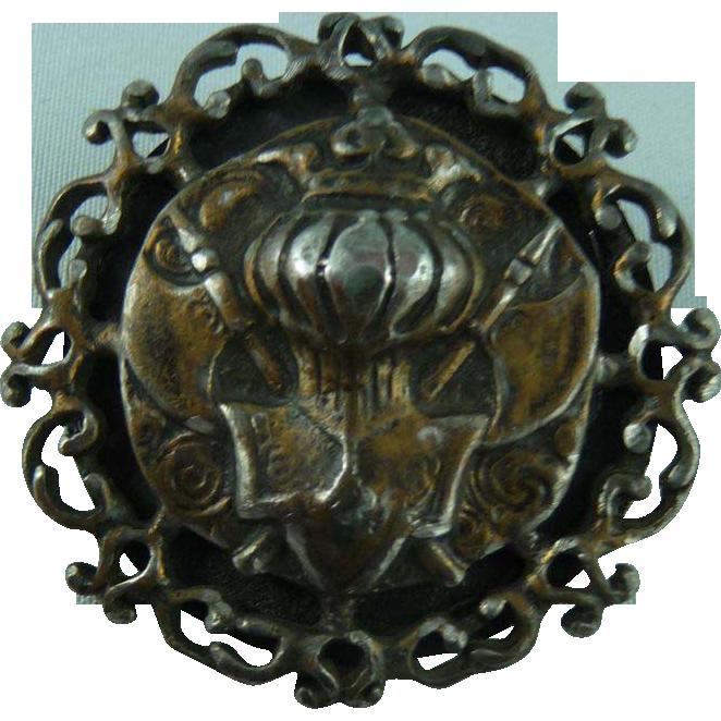 Large Vintage Heraldry Button