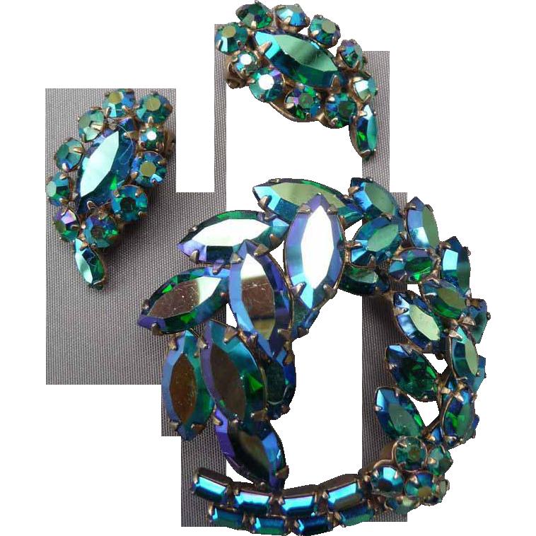 Beautiful Sea Blue/Green Sherman Pin and Earrings