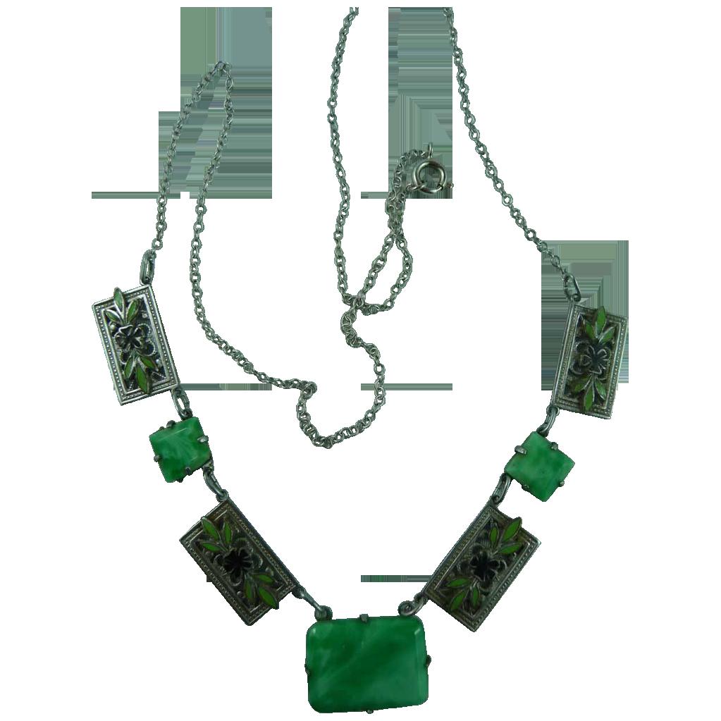 Beautiful Vintage Peking Glass and enamel Necklace