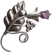 Significant Silver and Amethyst Mexican Flower Pin