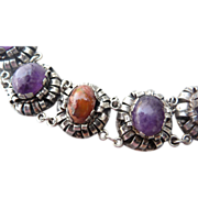 Exquisite Sterling Amethyst and Opal Mexican Bracelet