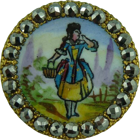 Beautiful Early 1800's Enamel French Button