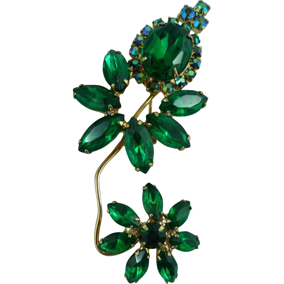 Juliana DeLizza & Elster Green Rhinestone Flower Brooch