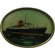 Vintage Lithograph Ship Button