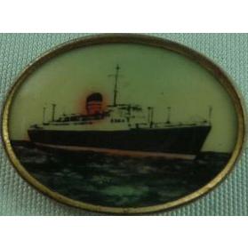 Vintage Lithograph Ship Button