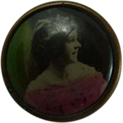 Vintage Lithograph Woman Button