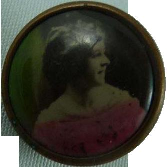 Vintage Lithograph Woman Button