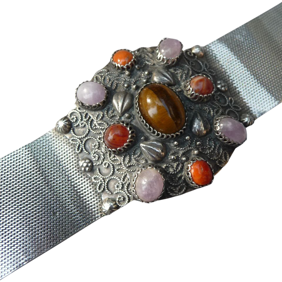 Incredible Vintage Silver and Semi Precious Bracelet