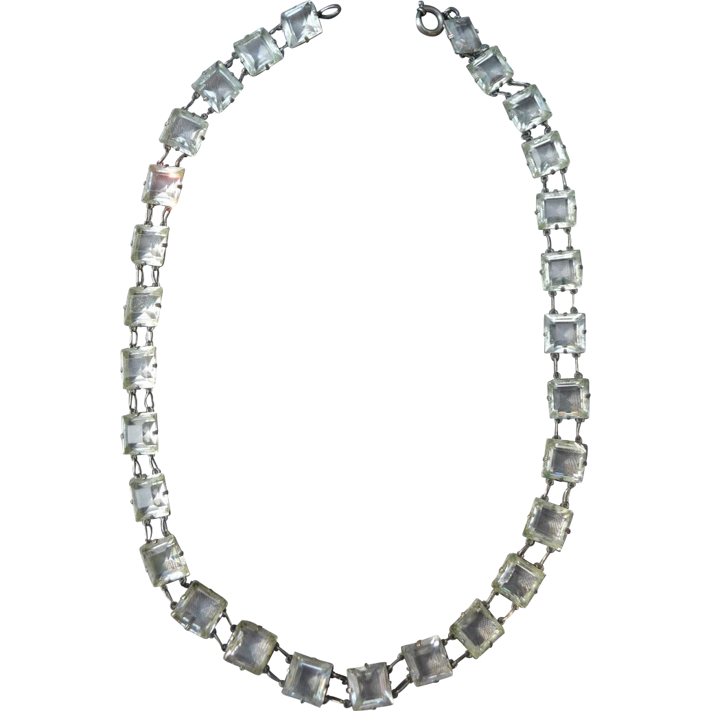 Vintage silver Cut Crystal Necklace