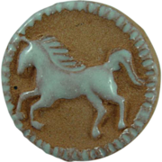 Vintage Pottery Unicorn Button