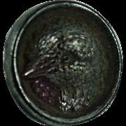 Vintage iridescent black Glass Bird Button
