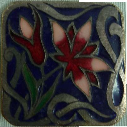 Lovely Enamel Art Nouveau Button