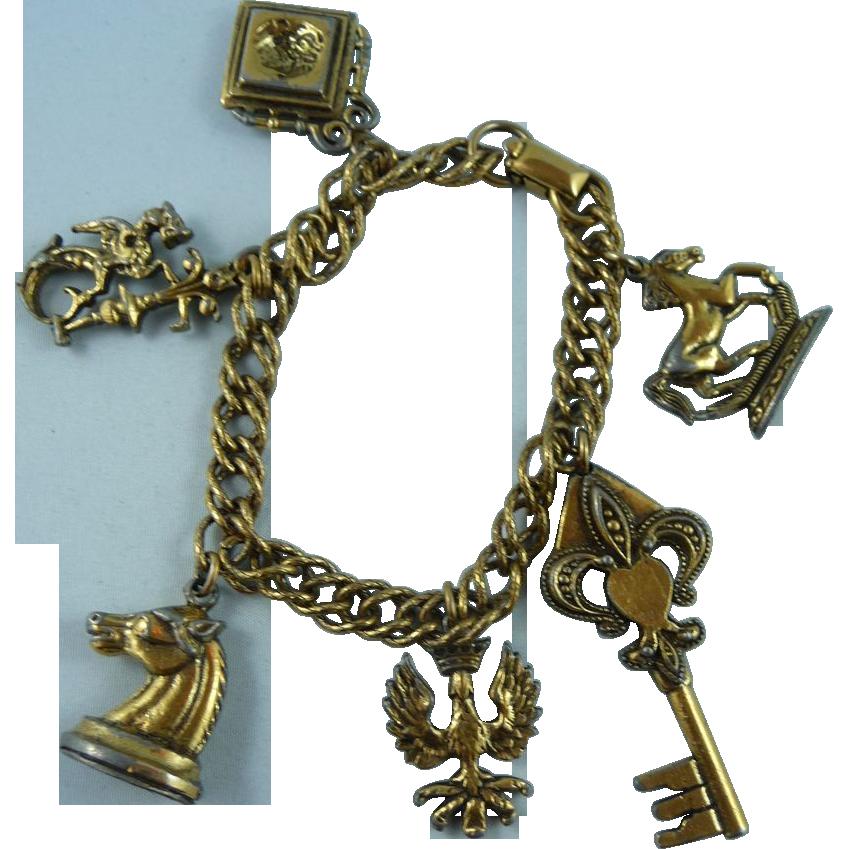 Vintage Coro Charm Bracelet Hiptobeold Ruby Lane