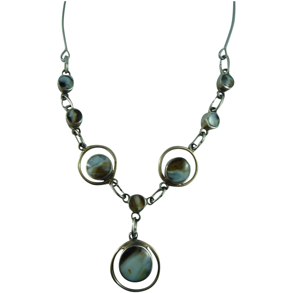Vintage reversible Agate Silver Toned Necklace