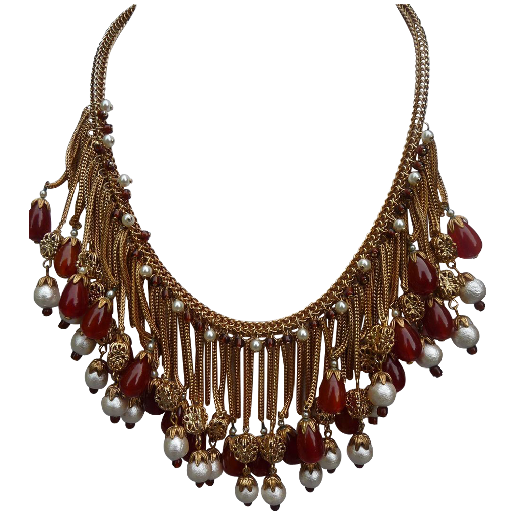 Exceptional Vintage Hobe Fringe Necklace
