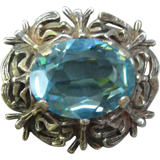 Vintage Sterling and Aqua Blue Pin